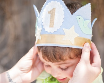 BOY First BIRTHDAY CROWN - Shabby Chic Blue & Gold Flowers and Birds