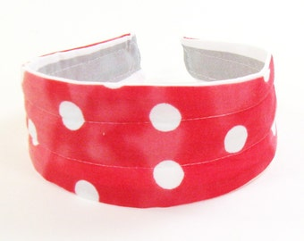 Reversible Fabric Hard Headband in Gray Stripe and Pink Polka Dot