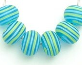 Turquoise Stripes Fun Summer Etched Artisan Handmade Lampwork Glass Beads SRA