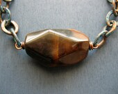 Golden Tigers Eye with Patina Chain and Leather Necklace