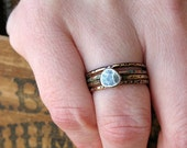 Mixed Metal and Patina Stacking Rings with Sterling Pebble - size 6