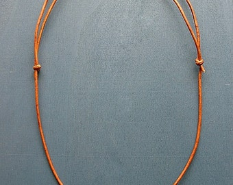 Adjustable Sliding Knot Leather Necklace in Henna Brown