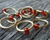 Dangle Free Knitting Stitch Markers African Sunset Seed Beads Brass Rings Choose Ring Size and Quantity