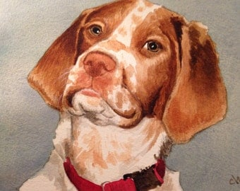 Shelby. A watercolor painting of a Brittany Puppy.. Custom Pet Portrait