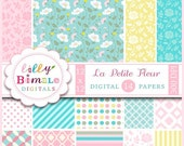 40% off Floral Digital Scrapbook Papers for cards, invites Commercial Use included La Petite Fleur pastel colors, roses, pink, pale