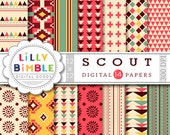 40% off SCOUT Tribal Digital Papers aztec native american geometric prints in red, green, yellow, sage DIGITAL DOWNLOAD
