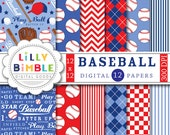 50% off sale Baseball digital papers scrapbooking invites, birthday party, balls, mitts, play ball, boys red and blue Digital Download