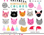 50% off Cat Faces clipart cats for birthday cards, Christmas, hand drawn digital images Instant Download kitties