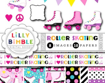 60% off Roller Skating clipart for birthday parties, invites, roller derby, skates, digital papers, printables INSTANT DOWNLOAD