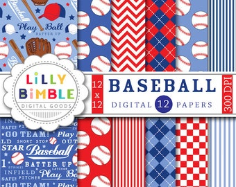 40% off Baseball digital papers scrapbooking invites, birthday party, balls, mitts, play ball, boys red and blue Digital Download