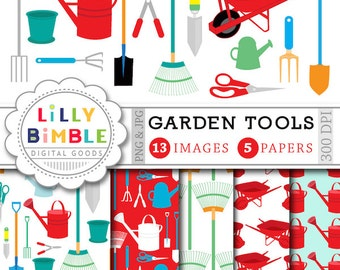 Garden clipart and digital paper with gardening tools, wheelbarrow, shovel,  Instant download