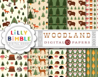 40% off 10 WOODLAND digital papers with forest animals including deer, fox, raccoon, squirrel and owl.