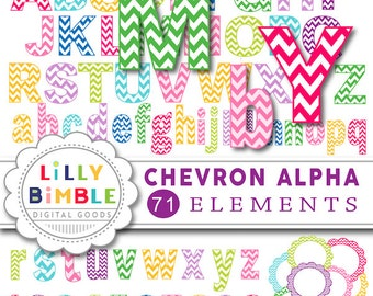 80% off CHEVRON ALPHABET numbers frames digital clipart PNGS download primary colors Instant Download