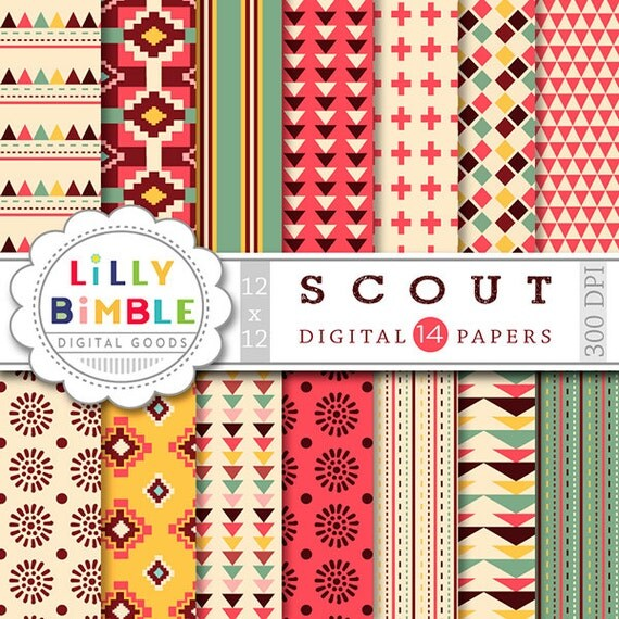 50% off SCOUT Tribal Digital Papers aztec native american geometric prints in red, green, yellow, sage DIGITAL DOWNLOAD