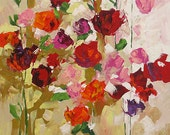 Acrylic Abstract Floral Painting Giclee Print Made To Order Bold Red Roses Print Impressionist Fine Art Print Wall Decor by Linda Monfort