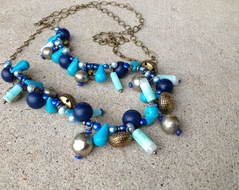 Button necklace, blue,brass buttons, long necklace