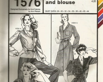 Stretch & Sew Lapel Collar Dress and Blouse Pattern 1576