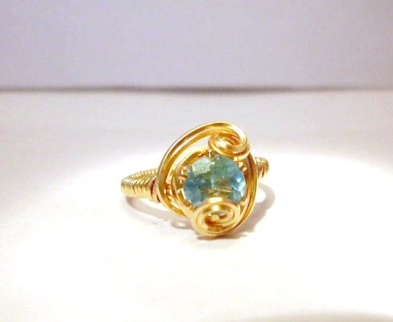 Beautiful Sky Blue Topaz 14k Gold Filled Ring - Size 5