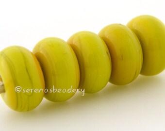 5 YELLOW BUTTERNUT Lampwork Spacer Glass Beads Glossy & Matte Handmade Donut Rondelle