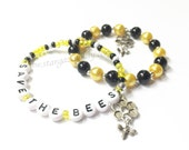 Honeybee Charm Bracelet. Raise awareness and help save the bees. Cute dangle bee charm on honeycomb. Personalized Name charm bracelet