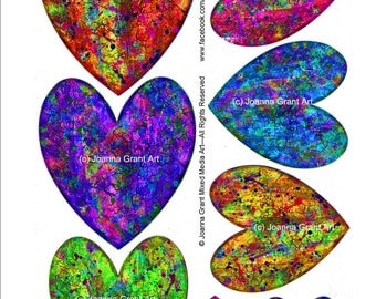 INSTANT DOWNLOAD Funky Mixed Media Hearts Collage Sheet Art