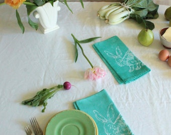 pair of jade green rabbit napkins