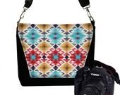 Sale DSLR Camera Bag for Women Navajo Fabric Messenger Bag Purse Canon Nikon Camera Case southwestern red blue yellow black USA handmade MTO