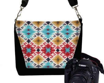 CLEARANCE Dslr Camera Bag for Women Navajo Fabric Messenger Bag Purse Canon Nikon Camera Case southwestern red blue yellow black USA  RTS