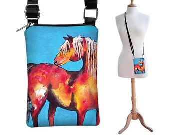 SALE Clara Nilles Cell Phone Case iPhone Purse Cross Body Bag Small Shoulder Bag Small Sling Bag- Horse Phone Case red turquoise RTS