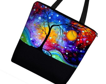 MADART Large Tote Bag Purse in Winter Sparkle / Zippered Canvas Tote Bag with Pockets / Diaper Bag / Office Tote  tree moon purple blue MTO