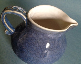 Ambitious blue creamer pitcher - white pottery vessel (2 cup capacity)- 100% donation to solar panels for a school building fund