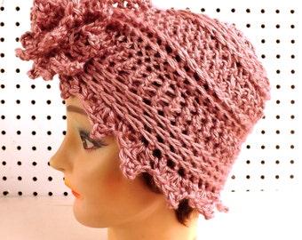 Pink Crochet Hat Womens Hat, Womens Crochet Hat, Womens Turban Hat, Crochet Flower, Plum Wine Pink Hat, Alejandra Turban Hat, Crochet Hat