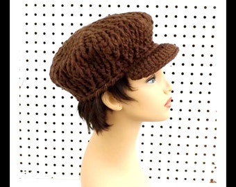 Brown Crochet Hat Womens Hat, Crochet Newsboy Hat, Brown Hat, Winter Hat, CONDUCTRESS, Newsboy Hat Womens