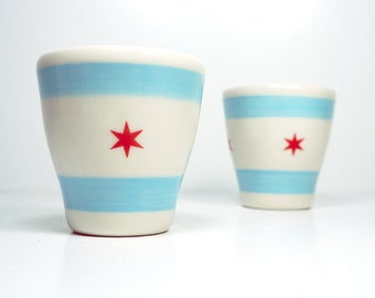 a pair of 5oz tumblers w/the chicago flag. Made to Order.