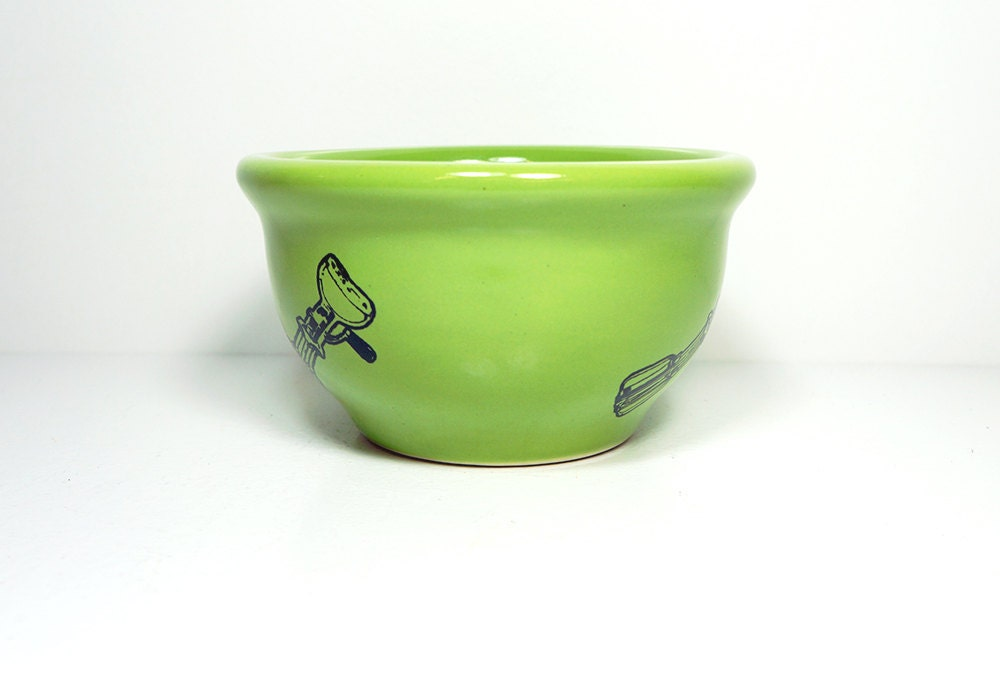 small bowl in Tinda with a handmixer print. Made to Order / Pick Your Colour