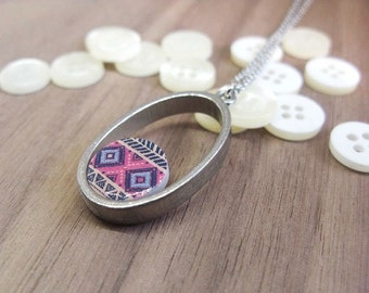 Ethnic jewelry | African pattern in pink and blue hues | Friend's gift | Unique jewelry.