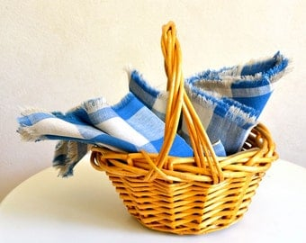 Table Linen Set / Blue & White Checked Linen Cotton Cloth Napkins Set of 6 / Large Size