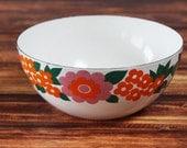 RARE Mid Century Modern Finel Arabia Finland Enamel Patterned Bowl Daisy Flower Floral Mod