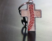 Baseball Stitch Seam Cross keychain key ring from authentic leather baseball - silver, new, used or dirty - baseball mom