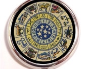 Retro Zodiac Pill Box Case Pillbox Astrology Chart Astrological Metaphysical Vintage image Occult Spirituality Holds Guitar Picks
