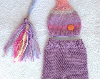 Newborn Girl OUTFiT Knit Hat Pants Set RTS BaBY PHoTo PRoP Mauve Pink Blue Peach BuTToN TaSSeL Pixie Beanie SToCKiNG CaP SHoRTS Coming Home