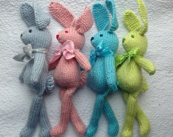 Bunny Rabbit Stuffie Toy Knit NeWBoRN BaBY PHoTO PRoP Floppy Ear SHaBBY CHiC Kid Small STuFFeD ANiMaL Toddler SoFT ToY Silver Pink Aqua GiFT
