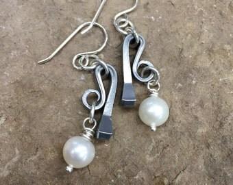 Horseshoe Nail & Pearl Dangle Earrings