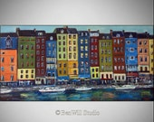 """72""""  Oil Painting FRANCE - HUGE Original Wall Art - HONFLEUR France --- Ready to Hang 72x36 by BenWill"""