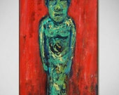 easter island MOAI red original painting - Ready to Hang - 20x10 - Fine Art by BenWill