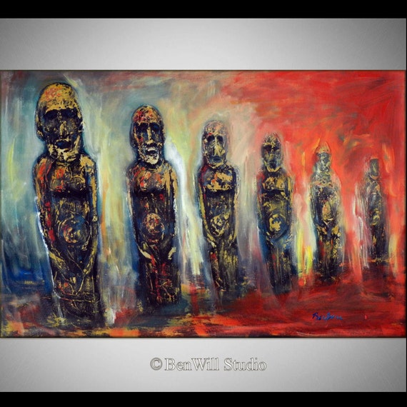easter island original painting - Ready to Hang - 30x20 - Fine Art by BenWill