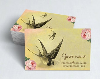 Business Cards  Custom Business Cards  Personalized Business Cards  Business Card Template  Vintage Business Cards  Bird Business Card V14