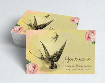 Business Cards  Custom Business Cards  Personalized Business Cards  Business Card Template  Vintage Business Cards  Bird Business Card V14