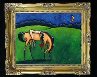 Horse Woman Art Print, Equestrian Gift Idea, Horse Lover Decor, Female Nudity, Bedroom Wall Hanging, Western Art, Original Painting SHANO