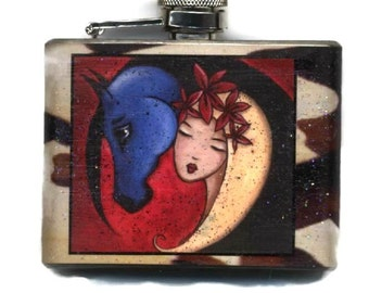 Woman Horse Flask, Bohemian Gift for Her, 21st Birthday Present, Housewarming Idea, Bridesmaid Maid of Honor, Pet Lover, Equestrian Shano